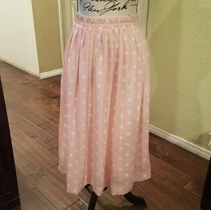 Pink and white polka dot long skirt medium